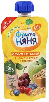 Пюре Фруто-няня яблоко/ягоды/овсянка 130г - фото 4642