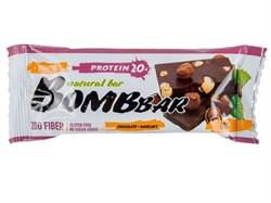 Батончик Бомббар протеиновый неглазированный шоколад-фундук 60г - фото 4966
