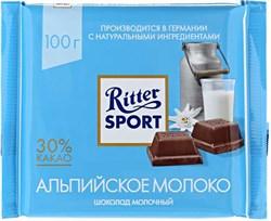 Шоколад Риттер Спорт молочный с альпийским молоком 100г - фото 5029