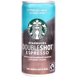 Напиток Старбакс молочный кофейный Даблшот эспрессо без сахара 2,6% 200мл ж/б - фото 5091