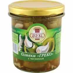 Оливки Греко с чесноком б/к 280г ст/б - фото 5341