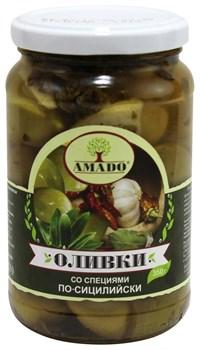 Оливки Амадо зеленые со специями по-сицилийски 350г ст/б - фото 6752