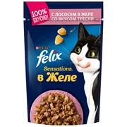 Корм для кошек Феликс Сенсейшен с лососем в желе со вкусом трески 85г