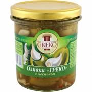 Оливки Греко с чесноком б/к 280г ст/б