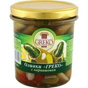 Оливки Греко с корнишоном б/к 280г ст/б