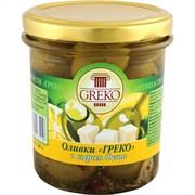 Оливки Греко с сыром фета б/к 280г ст/б