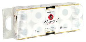 Бумага туалетная Манеки блек энд вайт иланг-иланг 3-х слойная 10 рулонов