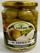 Оливки Амадо зеленые фаршированные сыром чанах 350г ст/б